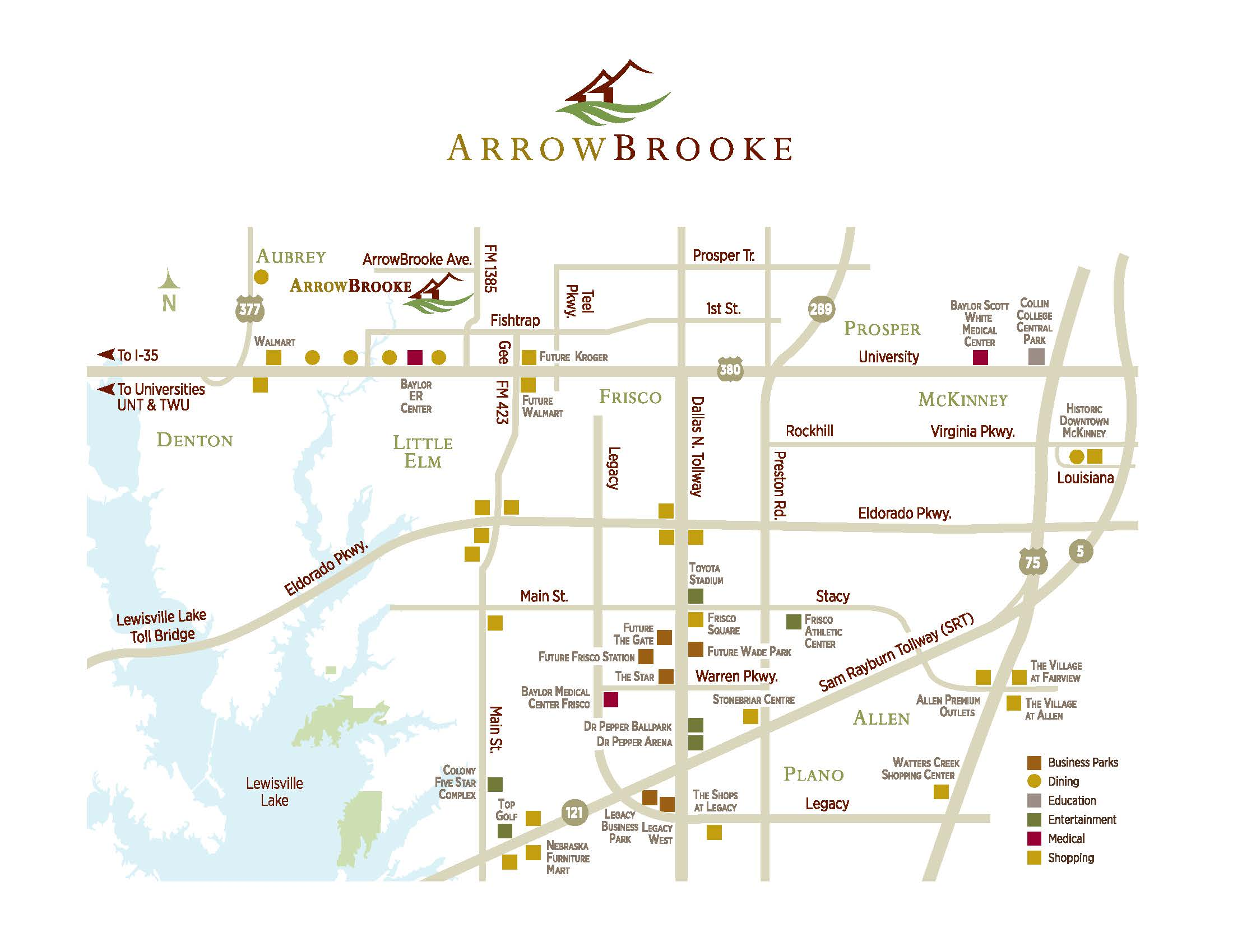 Map of ArrowBrook and surrounding community